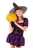 Fairy with a pumpkin Royalty Free Stock Image