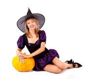 Fairy with a pumpkin Royalty Free Stock Photo