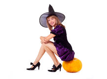 Fairy with a pumpkin Stock Photos