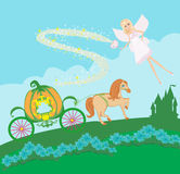 Fairy and a pumpkin carriage. Illustration of a fairy and a pumpkin carriage Royalty Free Stock Images