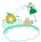 Fairy and a pumpkin carriage. Illustration of a fairy and a pumpkin carriage Stock Images