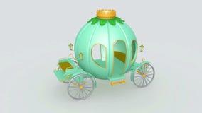 Fairy pumpkin cart. Fairy turquoise colored pumpkin cart stock footage