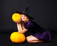 Fairy with pumpkins Royalty Free Stock Images