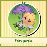 Fairy purple - cute girl illustration closeup Stock Image