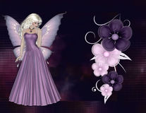 Fairy with Purple Flowers Background. First a beautifully purple in color background was textured as a glass block design. Next a lovely blonde haired fairy was stock photos