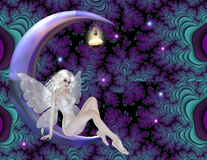 Fairy on Purple Moon Background. First a cool and wild background was created in purples and blues. Next a purple moon with a light was added. Then I added stars vector illustration