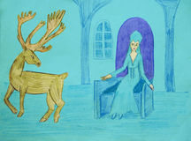 The fairy Queen and the deer Royalty Free Stock Images