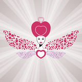 Fairy queen of love with hearts wings. Valentine. \\\'s day card Royalty Free Stock Photography