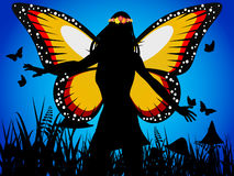 Fairy queen silhouette with butterfly wings Royalty Free Stock Images