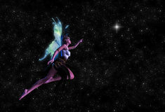 Fairy Reaching For the Star Illustration Stock Photography