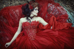 The fairy in a red dress is lying on a rock stock photography