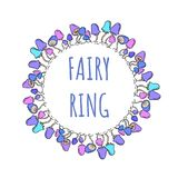 Fairy ring lettering in a mushroom wreath royalty free illustration