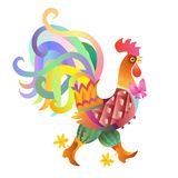 Fairy rooster on white background - chinese symbol of 2017 year. Fairy rooster with bow on white background - chinese symbol of 2017 year. Vector illustration Royalty Free Stock Image