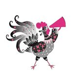 Fairy rooster on white background - chinese symbol of 2017 year. Fairy rooster isolated on white background - chinese symbol of 2017 year. Vector illustration Royalty Free Stock Images