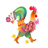 Fairy rooster on white background - chinese symbol of 2017 year. Stock Photos