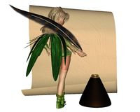 Fairy Scribe - 2. Fairy girl scribe standing by a sheet of parchment and quill pen with inkwell about to write a letter, 3d digitally rendered illustration Royalty Free Stock Image