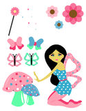 Fairy Set. A beautiful fairy with several cute elements Stock Images