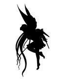 Fairy silhouette. A black isolated silhouette of a fairy Stock Photo