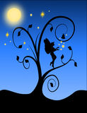Fairy Silhouette with flourish Royalty Free Stock Photos
