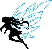 Fairy Silhouette Illustration. On white background Royalty Free Stock Image
