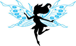 Fairy Silhouette Illustration. On white background Royalty Free Stock Photography