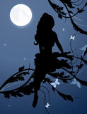 Fairy silhouette in night sky Stock Image