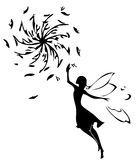Fairy silhouette. Vector illustration,  fairy silhouette. Dandelion silhouette Royalty Free Stock Photo