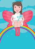 Fairy Sit At Rainbow_eps Royalty Free Stock Images
