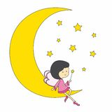 Fairy sitting on the moon Royalty Free Stock Photography