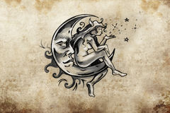 Fairy sitting on the moon, Tattoo sketch, handmade design over v Stock Image