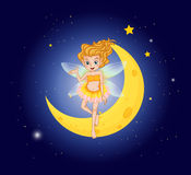 A fairy at the sky near the moon Royalty Free Stock Photography