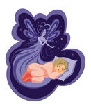 The fairy and the sleeping child. The night fairy protects the dream of the sleeping girl Royalty Free Stock Photos