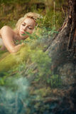 Fairy sleeping in the woods Stock Images