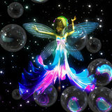 Fairy with soap bubbles Stock Photos