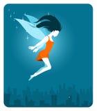 Fairy sopra la città Fotografie Stock Libere da Diritti