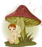 Fairy sotto il fungo Fotografia Stock Libera da Diritti