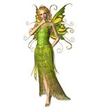 Fairy Spring Spirit. Fairy spirit dressed in yellow and green spring colours in a thoughtful pose, 3d digitally rendered illustration Royalty Free Stock Photography
