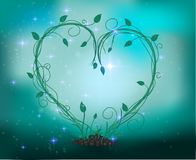 Fairy sprout in the heart composition. With sparkle and light, Fairy plant and forest decorations looks like heart, vector Royalty Free Stock Photos