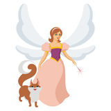 Fairy and squirrel Stock Image