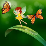 A fairy standing in a leaf with butterflies Stock Image