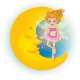 A fairy standing on a sleeping half moon Stock Photos
