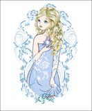Fairy with a star 2. The girl with the star, in an evening dress, in blue frame pattern Royalty Free Stock Images