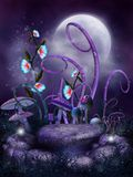 Fairy stones. Night scenery with fairy stone ring, flowers and mushrooms Royalty Free Stock Photos