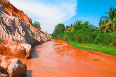 Fairy Stream Canyon, river, dunes, Mui Ne, Vietnam. Fairy Stream Canyon, Mui Ne, Vietnam, Southeast Asia. Beautiful scenic landscape with red river, sand dunes Royalty Free Stock Photos