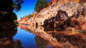 Fairy Stream Reflects Blue Sky Stony Speckled Bank stock footage