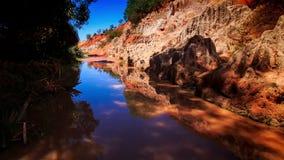 Fairy Stream Reflects Blue Sky Stony Speckled Bank stock video