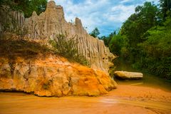 Fairy Stream (Suoi Tien), Mui Ne, Vietnam. One of the tourist attractions in Mui Ne.Beautiful mountains and water Royalty Free Stock Images