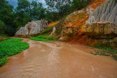 Fairy Stream (Suoi Tien), Mui Ne, Vietnam. One of the tourist attractions in Mui Ne.Beautiful mountains and water Royalty Free Stock Image