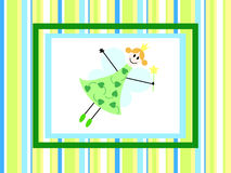Fairy on stripped backdrop. Green fairy girl on the green stripped background Stock Photography