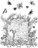 Fairy stump with door, butterflies. Vector illustration. Doodle drawing. Meditative exercise. Coloring book anti stress for adults Stock Image
